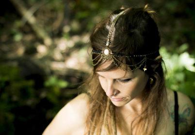Kopfschmuck, Kopfband, Federschmuck, Makramee, Hochzeitsschmuck
